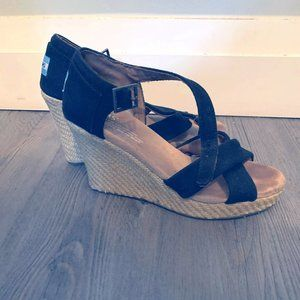 Like-New TOMS Espadrille Wedges, Size 7